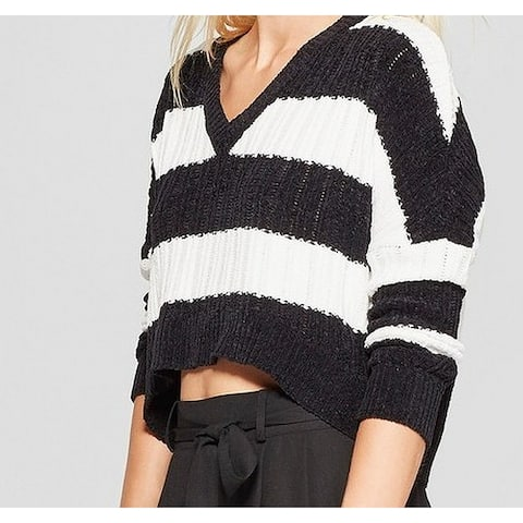 Living Doll Black Size XL Junior Striped Cropped Knitted Sweater