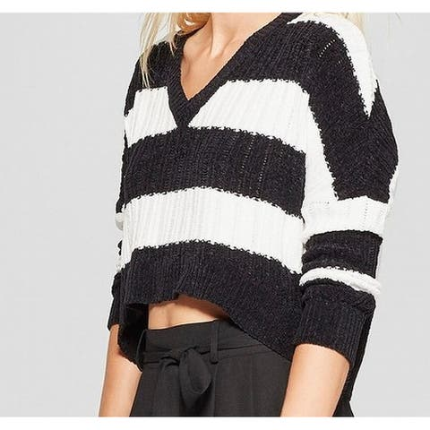 Living Doll Black White Womens Size XL Striped Knitted Sweater