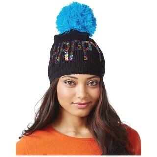 Betsey Johnson xox Trolls Happy Black Sequined Beanie Hat With Pom Pom