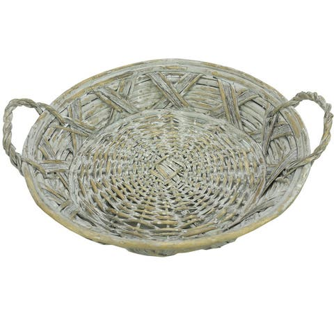 ABN5E143-GY Round Wooden Tray , Gray Wash