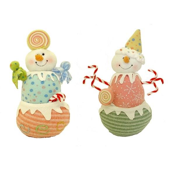 "Set of 2 Glittery Pastel Plush Candy Christmas Snowmen 10"""