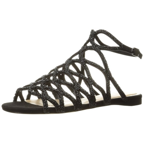 Imagine Vince Camuto Women's IM-Ralee Flat Sandal, Black, Size 8.5