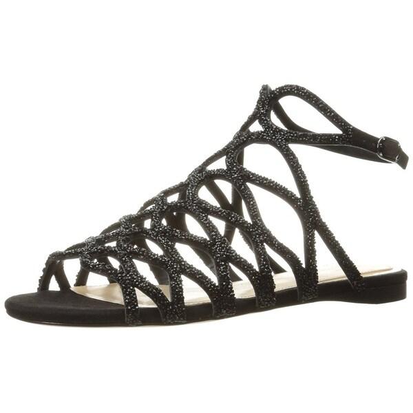 Imagine Vince Camuto Womens IMRalee Flat Sandal SilverIvory Size 80
