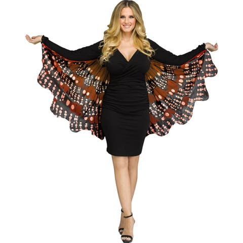 Womens Gold Monarch Butterfly Wing Costume Accessory - Standard - One Size