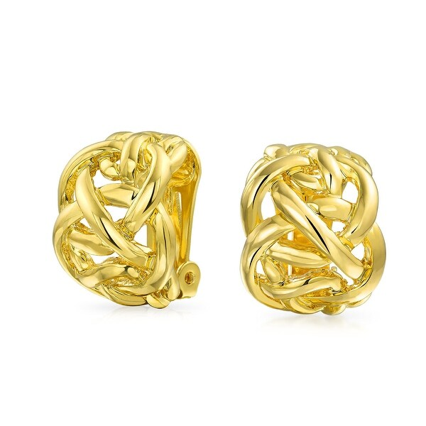 Bling Jewelry Gold Plated Br Celtic Knot Half Hoop Clip On Earrings