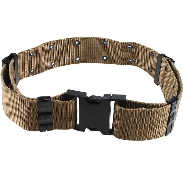 "Image 2.25"" Tactical Heavy Duty Hook-and-Loop Fastener Belt Safety Security Nylon Quick Release Tan"