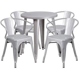 Brimmes 5pcs Round 24u0027u0027 Silver Metal Table W/4 Arm Chairs