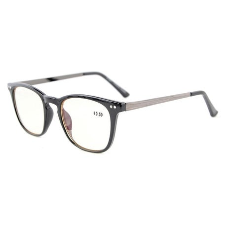 Eyekepper Retro Square Plastic Frame Metal Arms Computer Reading Glasses Eyeglasses Black +2.75