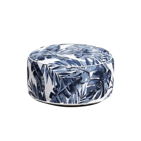 OVE Decors Marlowe 21 in. Blue Leaf Outdoor Inflatable Ottoman
