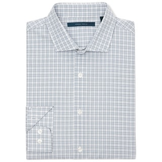 Perry Ellis Long Sleeve Classic Plaid Shirt Cashmere Blue and White XX-Large