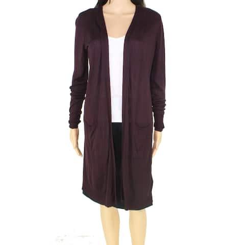 Alfani Womens Sweater Plum Purple Size Large L Open-Front Cardigan