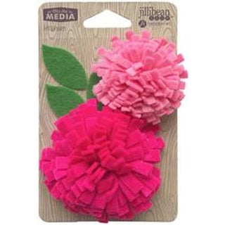 Playful Pink - Jillibean Soup Mix The Media Felt Flowers 2/Pkg