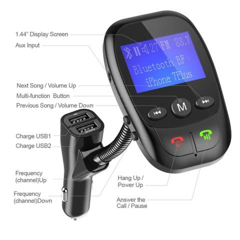 Bluetooth FM Transmitter Radio Adapter Car Kit for Car Commercial - M