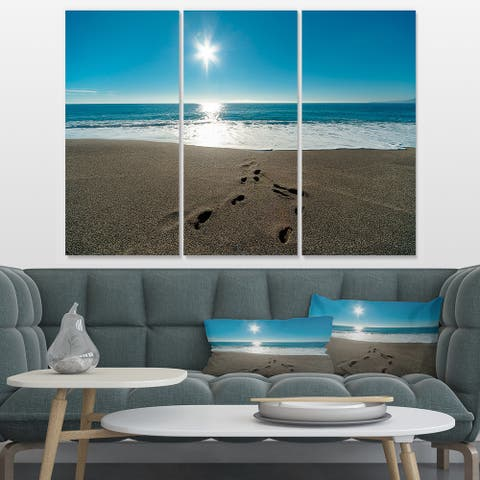 Blue Sea and Footprints in Sand - Large Seascape Art Canvas Print