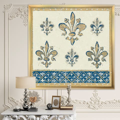 Designart 'Fleur de Lis Gold Pattern' Ornate Glam Framed Art Print