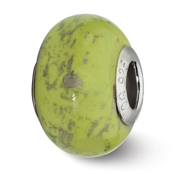 Italian Sterling Silver Reflections Green with Platinum Foil Ceramic Bead (4mm Diameter Hole)