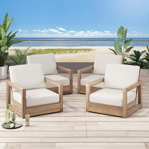 Westchester Acacia Wood Club Chairs by Christopher Knight Home