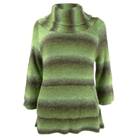 Sydney Easton Women's Ombre Stripe Cowl Sweater (M, Green) - M