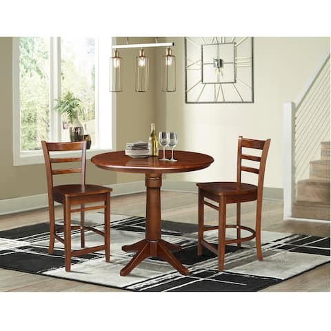 """36"""" Round Pedestal Counter Height Table with 2 Stools - 3 Piece Set"""