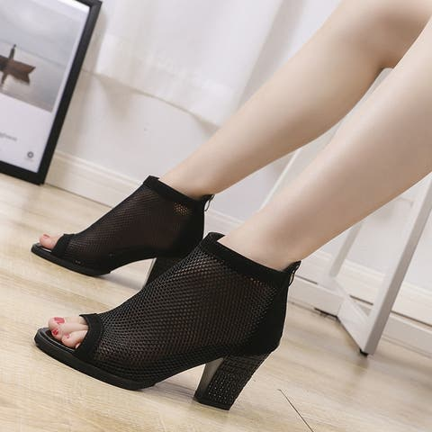 Women's Mesh Heels Thick Lace Fish Mouth