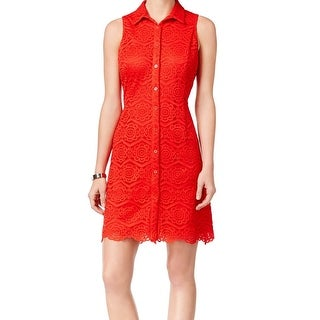 Ronni Nicole NEW Red Women's Size 14 Lace Button-Down Shirt Dress