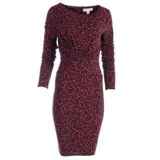 MICHAEL Michael Kors Womens Matte Jersey Gathered Wear to Work Dress - M
