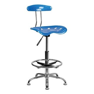 Offex Vibrant Bright Blue and Chrome Drafting Stool with Tractor Seat [OF-LF-215-BRIGHTBLUE-GG]
