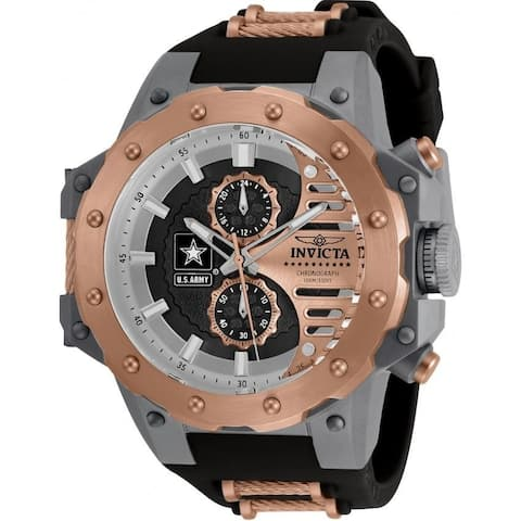 Invicta Men's 32985 'U.S. Army' Black and Rose-Tone Polyurethane and Stainless Steel Watch