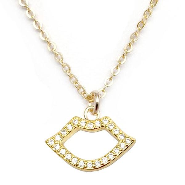 """Julieta Jewelry CZ Lips Gold Charm 16"""" Necklace"""