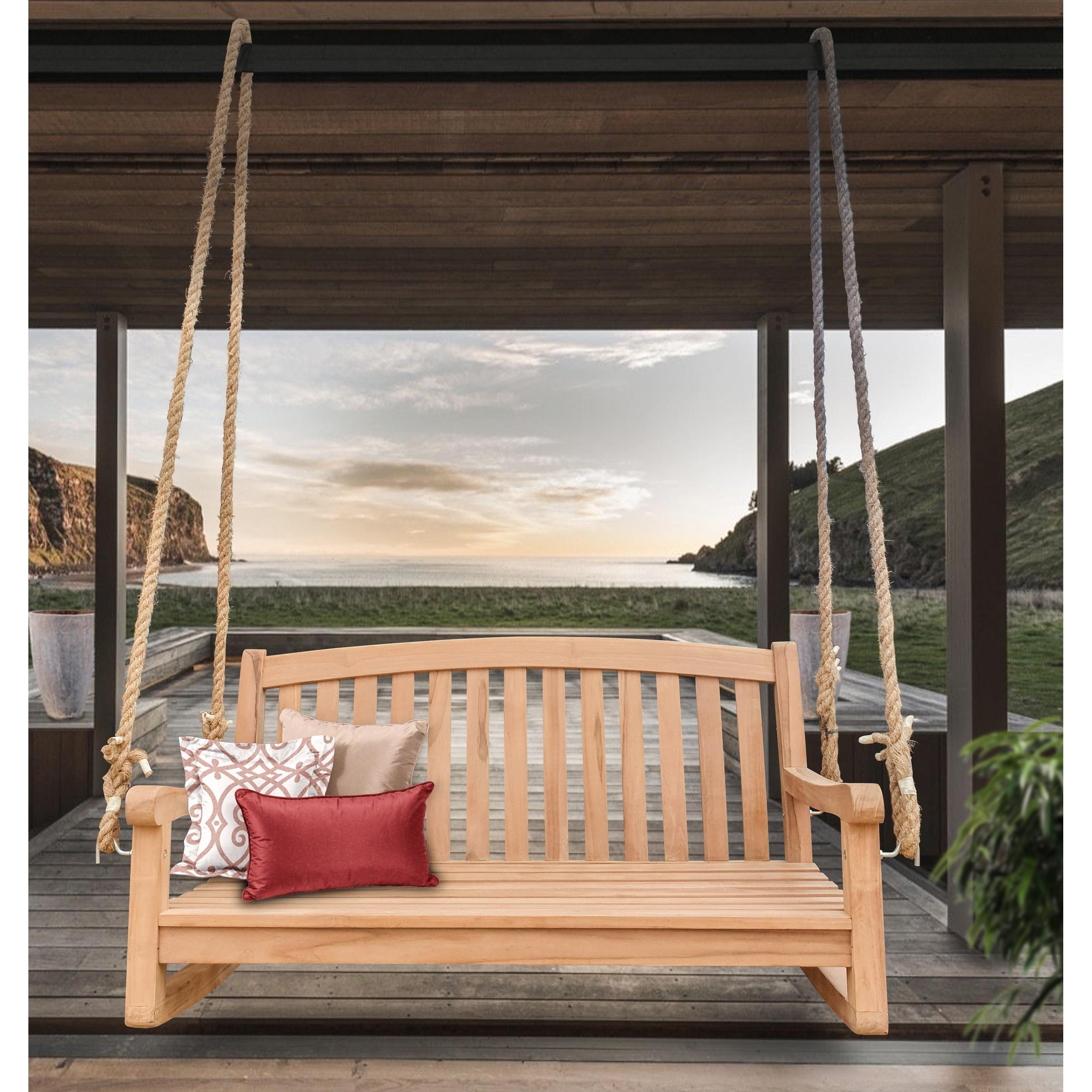 Shop Black Friday Deals On Seven Seas Teak San Jose Teak Wood Double Outdoor Porch Swing 4 Foot Overstock 31525388