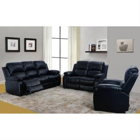 3-Pieces Living Room Recliner Sofa Set,Black(2900B)