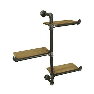 3 Tier Wall Mounted Rustic Industrial Offset Pipe Shelf - 27 X 26 X 6.5 inches