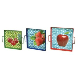 "Set of 3 Strawberry, Apple & Cherry Oblong Serving Trays with Handles 15""-17"""