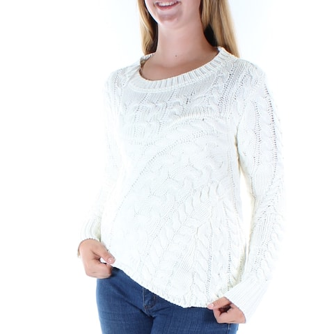 KIIND OF Womens Ivory Long Sleeve Jewel Neck Sweater Size: M