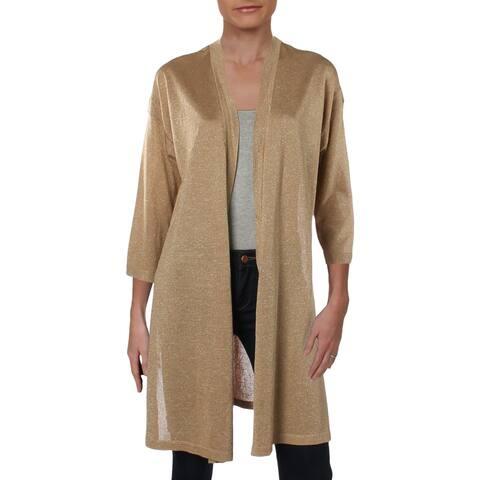 Anne Klein Womens Cardigan Sweater Lurex Open Front