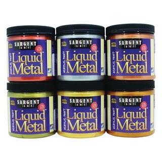 Sargent Art Liquid Metal Non-Toxic Premium Acrylic Paint Set, 8 oz Jar, Assorted Metallic Color, Set of 6