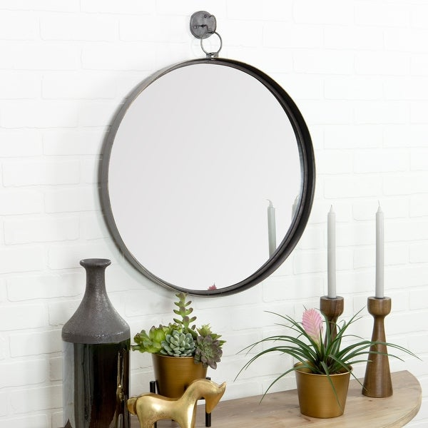 """Bescott Suspended Round Wall Mirror - 28""""H x 24""""W x 2""""D. Opens flyout."""