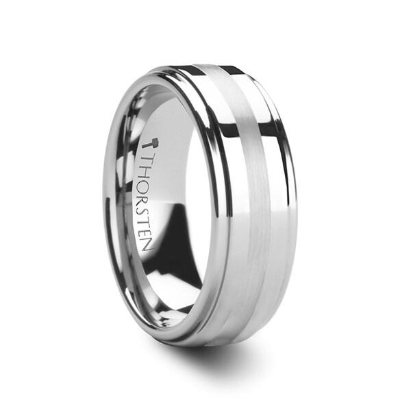 THORSTEN - ODIN Platinum Inlaid Raised Center Tungsten Ring