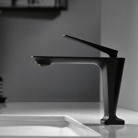 Matte Black Single Handle Vessel Bathroom Faucet