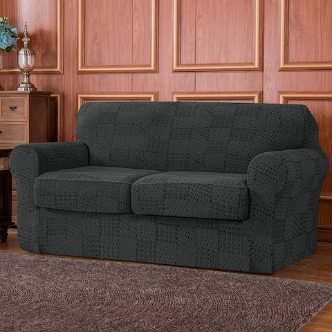 Subrtex 3-Piece High Stretch Jacquard Cover with 2 Separate Cushion