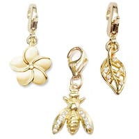 Julieta Jewelry Bee, Flower, Leaf 14k Gold Over Sterling Silver Clip-On Charm Set