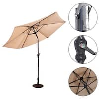 Costway 10FT Patio Umbrella 6 Ribs Market Steel Tilt W/ Crank Outdoor Garden Beige