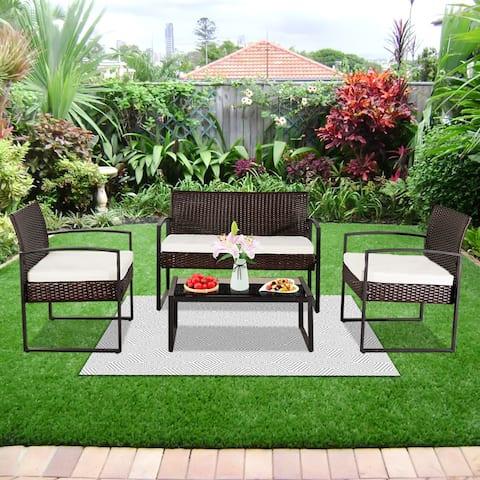 4-piece Outdoor Leisure Rattan Furniture Wicker Chair Metal Patio Set