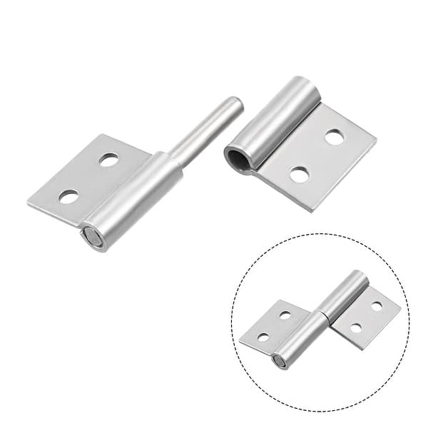 MroMax Lift Off Hinge Silver Tone 2Pcs 3inch Long Stainless Steel Slip Joint Flag Hinges for Window Cupboard Cabinet Door
