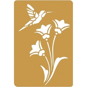 "Brass Embossing Stencil 3.25""X2.25""-Bird & Flower - GOLD"