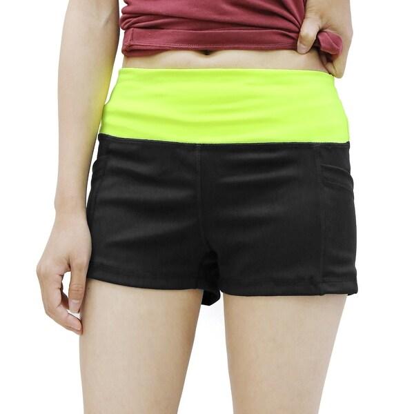 Shop Women Black Yellow Size XL Dual Pockets Waistband
