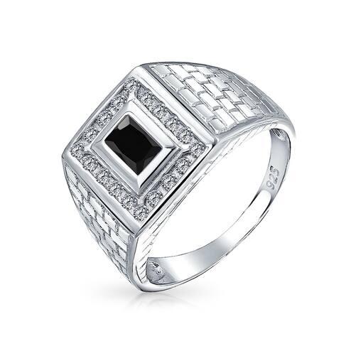 Geometric Rectangle 2CT Black Emerald Cut AAA CZ Bezel Halo Mens Engagement Ring Imitation Onyx Band For Men