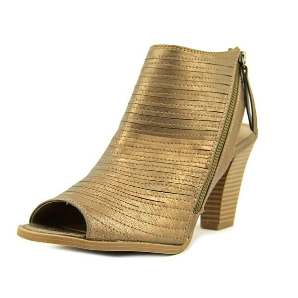 CL By Laundry Runway Women Open-Toe Leather Bronze Slingback Heel