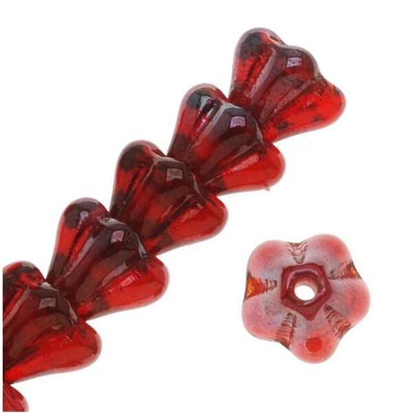 Czech Glass Beads Flower Beadcaps 6x4.5mm Siam Ruby Vega (50)