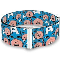 Marvel Comics Captain America Face Close Up Stacked One Size Cinch Waist Sinch Waist Belt  ONE SIZE